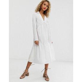 エイソス ASOS DESIGN レディース ワンピース・ドレス ワンピース【tiered collared cotton smock midi dress with long sleeves】White