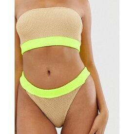 エイソス ASOS DESIGN レディース 水着・ビーチウェア ボトムのみ【crinkle high leg bikini bottom with neutral contrast in fluro yellow】Neutral / fluro yell