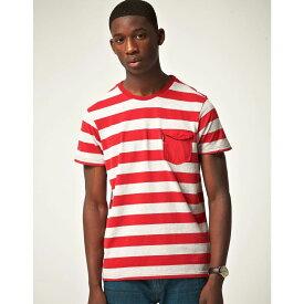 ベンシャーマン Ben Sherman メンズ トップス Tシャツ【Block Stripe Pocket T-Shirt】Racing red