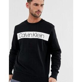 カルバンクライン Calvin Klein メンズ トップス スウェット・トレーナー【Exclusive to ASOS stripe logo sweatshirt in black】Black/white