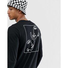 エイソス ASOS DESIGN メンズ トップス 長袖Tシャツ【long sleeve t-shirt with face sketch print】Black