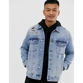 エイソス ASOS DESIGN メンズ アウター ジャケット【light wash blue western denim jacket with rips】Light wash