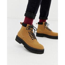 エイソス ASOS DESIGN メンズ シューズ・靴 ブーツ【lace up boots in tan faux leather with contrast black sole】Tan