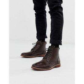 エイソス ASOS DESIGN メンズ シューズ・靴 ブーツ【lace up boots in brown leather with contrast sole】Brown
