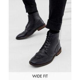 エイソス ASOS DESIGN メンズ シューズ・靴 ブーツ【Wide Fit brogue boots in black leather with natural sole】Black