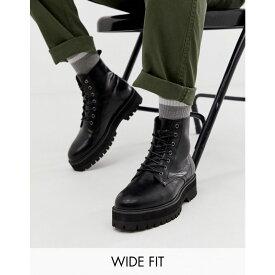エイソス ASOS DESIGN メンズ シューズ・靴 ブーツ【Wide Fit black lace up boots in faux leather with raised chunky sole】Black