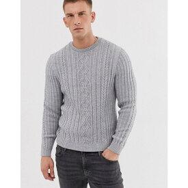 エイソス ASOS DESIGN メンズ トップス ニット・セーター【knitted cable knit jumper in light grey twist】Grey