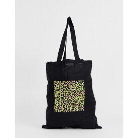エイソス ASOS DESIGN メンズ バッグ トートバッグ【organic cotton tote bag in black with neon leopard box print】Black