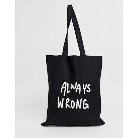 エイソス ASOS DESIGN メンズ バッグ トートバッグ【organic cotton tote bag in black with always wrong text print】Black