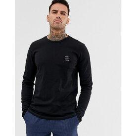 ヒューゴ ボス BOSS メンズ トップス 長袖Tシャツ【Tacks small logo long sleeve t-shirt in black】Black