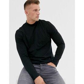 エイソス ASOS DESIGN メンズ トップス 長袖Tシャツ【long sleeve t-shirt with turtle neck in black】Black
