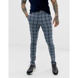 エイソス ASOS DESIGN メンズ ボトムス・パンツ スキニー・スリム【super skinny smart trousers in blue wool mix check】Blue