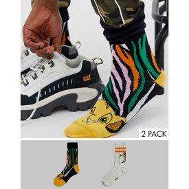 エイソス ASOS DESIGN レディース インナー・下着 ソックス【Disney The Lion King x 2 pack character socks】White/multi