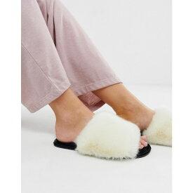 エイソス ASOS DESIGN レディース シューズ・靴 スリッパ【Neela faux fur slippers】White