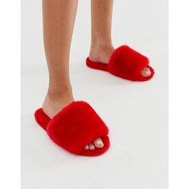 エイソス ASOS DESIGN レディース シューズ・靴 スリッパ【Nola premium sheepskin slippers in red】Poppy red