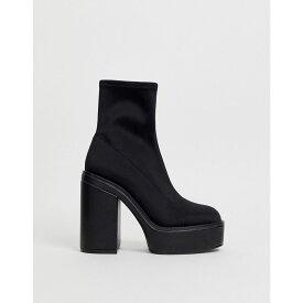 エイソス ASOS DESIGN レディース シューズ・靴 ブーツ【Electrics neoprene platform sock boots in black】Black
