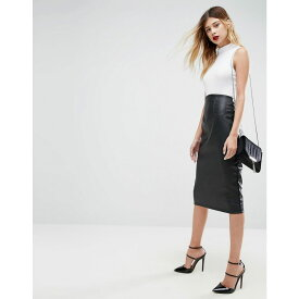 エイソス ASOS DESIGN レディース スカート ひざ丈スカート【ASOS sculpt me leather look high waist pencil skirt】Black