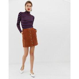 ウェアハウス Warehouse レディース スカート ひざ丈スカート【a-line cord skirt with button through in rust】Rust