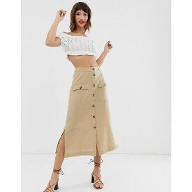 ウェアハウス Warehouse レディース スカート ひざ丈スカート【linen skirt with buttons in stone】Stone