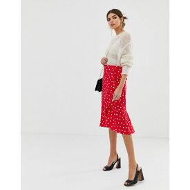 ウェアハウス Warehouse レディース スカート ひざ丈スカート【spot wrap midi skirt in red】Red pattern