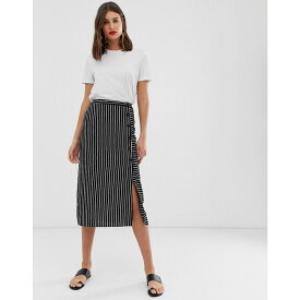 ウェアハウス Warehouse レディース スカート ひざ丈スカート【stripe button side midi skirt】Black stripe