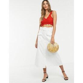 ネオンローズ Neon Rose レディース スカート ロング・マキシ丈スカート【utility maxi skirt with belted waist】White orange stitch