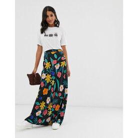 ネオンローズ Neon Rose レディース スカート ロング・マキシ丈スカート【bias cut maxi skirt in retro floral】Black bold floral