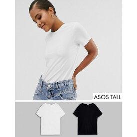 エイソス ASOS Tall レディース トップス Tシャツ【ASOS DESIGN Tall organic cotton crew neck t-shirt 2 pack】Black/white