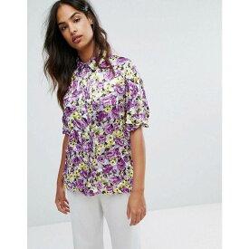 ウェアハウス Warehouse レディース トップス ブラウス・シャツ【Premium Peony Pop Crinkle Shirt】Violet