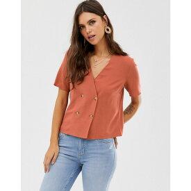 ウェアハウス Warehouse レディース トップス ブラウス・シャツ【shirt with double breasted buttons in rust】Orange