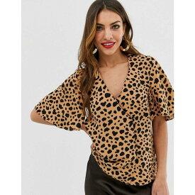 ウェアハウス Warehouse レディース トップス ブラウス・シャツ【top with side buttons in leopard print】Tan
