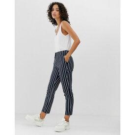 ウェアハウス Warehouse レディース ボトムス・パンツ スキニー・スリム【slim leg trouser in navy and white stripe】Navy