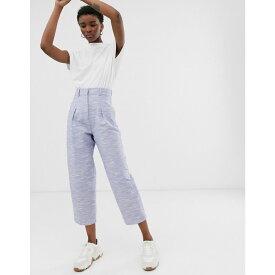 エイソス ASOS WHITE レディース ボトムス・パンツ【textured cotton wide leg trouser】Blue
