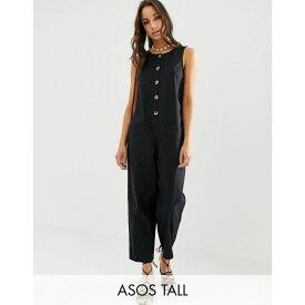 エイソス ASOS Tall レディース ワンピース・ドレス オールインワン【ASOS DESIGN Tall sleeveless button front boilersuit】Black