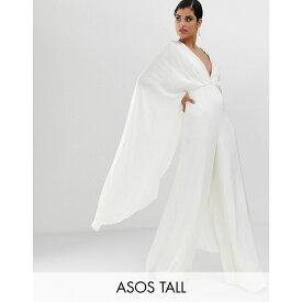 エイソス ASOS EDITION レディース ワンピース・ドレス オールインワン【Tall cape sleeve wedding jumpsuit in satin】Ivory