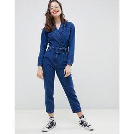 エイソス ASOS DESIGN レディース ワンピース・ドレス オールインワン【denim blazer jumpsuit in midwash blue】Midwash blue