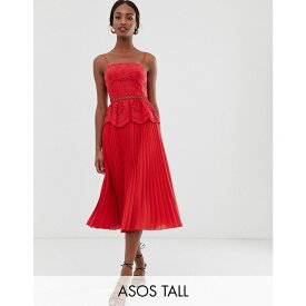 エイソス ASOS Tall レディース ワンピース・ドレス ワンピース【ASOS DESIGN Tall broderie cami midi dress with pleated skirt】Red