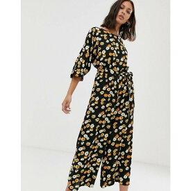 エイソス ASOS DESIGN レディース ワンピース・ドレス オールインワン【tie waist jumpsuit in yellow ditsy floral print】Black/yellow floral