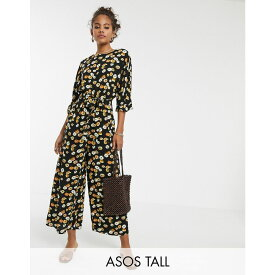 エイソス ASOS Tall レディース ワンピース・ドレス オールインワン【ASOS DESIGN Tall tie waist jumpsuit in yellow ditsy floral print】Black/yellow floral