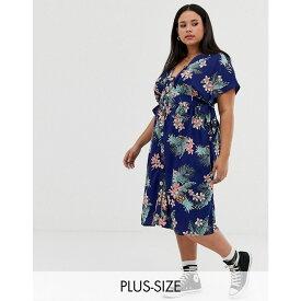 インフルエンス Influence Plus レディース ワンピース・ドレス ワンピース【button through midi dress in tropical floral print】Navy