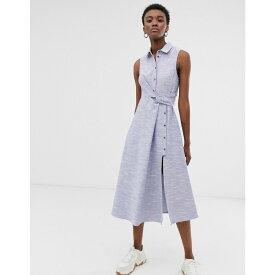 エイソス ASOS WHITE レディース ワンピース・ドレス ワンピース【textured cotton sleeveless shirt midi dress】Blue