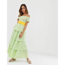 ウェアハウス Warehouse レディース ワンピース・ドレス ワンピース【x Shrimps tiered dress in gingham】Green