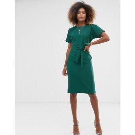 ウェアハウス Warehouse レディース ワンピース・ドレス ワンピース【crinkle dress with belt in green】Green