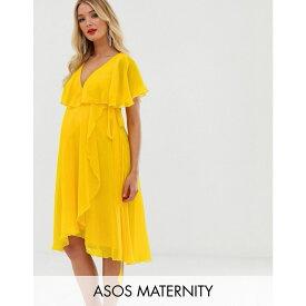 エイソス ASOS Maternity レディース ワンピース・ドレス ワンピース【ASOS DESIGN Maternity cape back dipped hem midi dress】Yellow