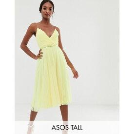 エイソス ASOS Tall レディース ワンピース・ドレス ワンピース【ASOS DESIGN Tall belted pleated tulle cami midi dress】Yellow