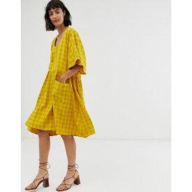 エイソス ASOS WHITE レディース ワンピース・ドレス ワンピース【self check smock dress with pockets】Yellow