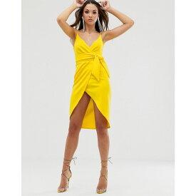 エイソス ASOS DESIGN レディース ワンピース・ドレス ワンピース【strappy cami wrap midi dress with sash detail】Yellow