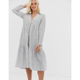 エイソス ASOS DESIGN レディース ワンピース・ドレス ワンピース【tiered collared cotton smock midi dress with long sleeves in cut about stripe】Navy white stripe