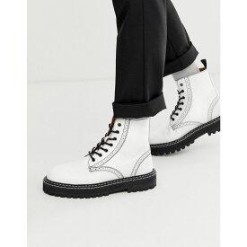 エイソス ASOS DESIGN メンズ シューズ・靴 ブーツ【lace up brogue boots in white leather with black chunky sole】White