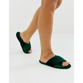 エイソス ASOS DESIGN レディース シューズ・靴 スリッパ【Zest cross strap slippers in forest green velvet】Forest green